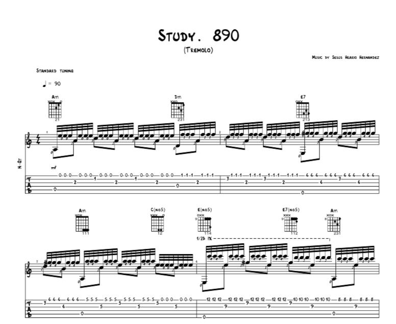 Study. 890 - Tremolo (Standard Notation + TAB) - snippet - Jesus Hilario Hernandez